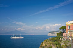Gulf of Naples, Sorrento Italy. A beautiful scenic view of the Gulf of Naples, off of the Mediterranean Sea, in Sorrento, Italy southern Italy, Europe, on a blue stock photos