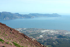 Gulf of Naples from Vesuvius volcano Italy. Gulf of Naples and suburb from Vesuvius volcano Italy Stock Images
