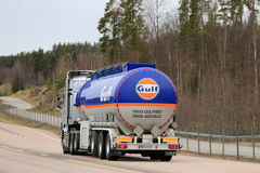 Gulf Oil Fuel Tank Truck on the Road in Finland Royalty Free Stock Images