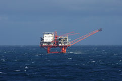 Gulf Oil Rig. Gulf of Mexico oil drilling rig in stormy seas Royalty Free Stock Photo