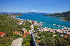 Gulf of Poets and Portovenere town, Italy. View of the Gulf of Poets and Portovenere town (UNESCO world heritage site) from the Doria Castle. Liguria, Italy Royalty Free Stock Image