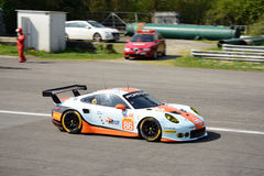 Gulf Racing Porsche 911 RSR at Monza. World Endurance Championship teams took part in the 2017 WEC Prologue at the Autodromo Nazionale Monza Stock Image