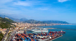 Gulf of  Salerno, Italy , on the Tyrrhenian Sea  and  the harbor Royalty Free Stock Photos