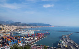 Gulf of  Salerno, Italy , on the Tyrrhenian Sea  and  the harbor Stock Photo