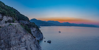 Gulf of Salerno, panorama at sunrise seen from the Amalfi Coast. Royalty Free Stock Photography