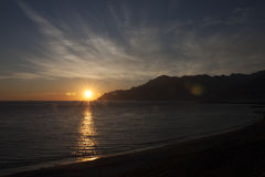 Gulf of Salerno at sunset. Seen from the waterfront Royalty Free Stock Photos