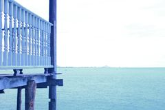Gulf Sea Horizon Town Balcony Background. View carved Pavilion White Blue royalty free stock images