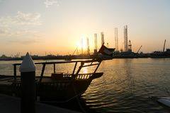 Gulf of Sharjah - Emirates. Sunset view on Arabian Gulf of Sharjah - Emirates Stock Photo