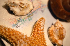 Gulf Shores, Alabama. White sand and seashells scattered across an atlas of Gulf Shores, Alabama royalty free stock image