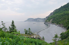 Gulf of St. Lawrence. Gray water of St. Lawrence gulf in sunet time stock image
