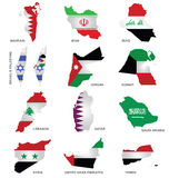 Gulf State Flags. Flags of Gulf Sates overlaid on outline maps isolated on white background stock illustration