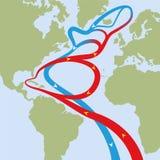 Gulf Stream l'Oceano Atlantico illustrazione vettoriale