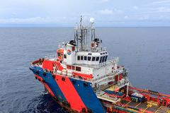 GULF OF THAILAND,SEPTEMBER 30,2017: Offshore oil and gas supply Royalty Free Stock Photo