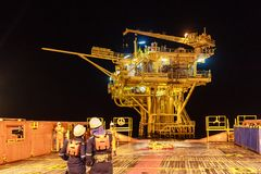 GULF OF THAILAND,SEPTEMBER 29,2017: Offshore oil and gas worker Royalty Free Stock Photos