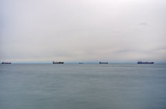 The gulf of Thessaloniki, Greece, under a cloudy sky Royalty Free Stock Photography