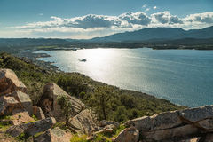 Gulf and town of Porto-Vecchio in south Corsica Royalty Free Stock Photo