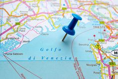 Gulf of Venice on map. With push pin Royalty Free Stock Images