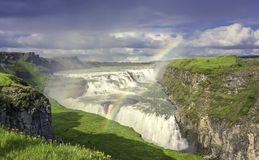 Gulfloss Waterfall with in Iceland Royalty Free Stock Photo