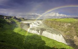 Gulfloss Waterfall with rainbow Stock Photography