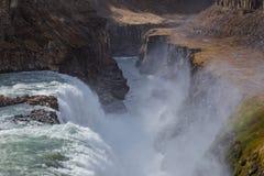 Gulfoss冰岛的最大的瀑布 免版税库存照片