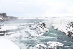 Gulfoss瀑布冰岛冬天 免版税图库摄影