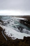 Gulfoss Golden Falls waterfall Iceland in winter.  Royalty Free Stock Photos