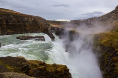 Gulfoss. Iceland. The golden Watefall Royalty Free Stock Photos