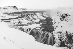 Gulfoss Icelandic Views. Gulfoss Waterfall Views around Iceland, Northern Europe in winter with snow and ice Royalty Free Stock Photography