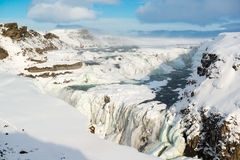 Gulfoss puissant ou cascade d'or en hiver, Islande photo stock