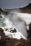 Gulfoss waterfall in Iceland. Gulfoss waterfall in Iceland with snow Royalty Free Stock Images