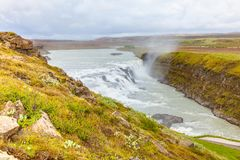 Gulfoss waterfall iceland. With clouds Stock Photos