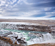 Gulfoss waterfall in Iceland. Famous Gulfoss waterfall on the Golden Circle at western side Iceland near Reykjavik Royalty Free Stock Image