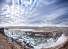 Gulfoss waterfall in Iceland. Famous Gulfoss waterfall on the Golden Circle at western side Iceland near Reykjavik Stock Image