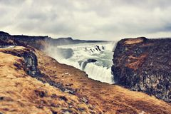 Gulfoss waterfall, Iceland. A photo of one of the biggest waterfalls in Europe. Gulfoss - Gold Fall Stock Photography