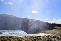 Gulfoss waterfall in Iceland. Powerful Gulfoss waterfall in Iceland stock photo