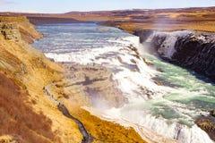 Gulfoss waterfall in Iceland. Powerful Gulfoss waterfall in Iceland stock photos