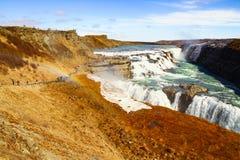 Gulfoss waterfall in Iceland. Powerful Gulfoss waterfall in Iceland royalty free stock image