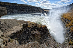 Gulfoss waterfall in iceland. On sunny day Royalty Free Stock Image