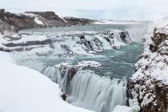 Gulfoss Waterfall Iceland Winter. Gulfoss Golden Falls waterfall Iceland in winter Royalty Free Stock Images