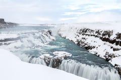 Gulfoss Waterfall Iceland Winter Stock Image