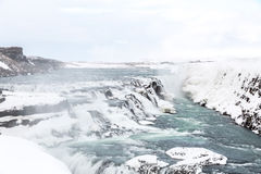 Gulfoss Waterfall Iceland Winter Royalty Free Stock Photography