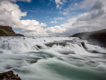Gulfoss waterfall just before the fall 1. Glacier river in Iceland flowing into the Gulfoss waterfall Stock Images