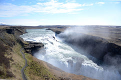 Gulfoss waterfall. NEAR HAUKADALUR, ICELAND - JUN 14:  Gulfoss waterfall in central Iceland, shown here on June 14, 2015, is one of the most popular attractions Royalty Free Stock Image