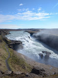 Gulfoss waterfall. NEAR HAUKADALUR, ICELAND - JUN 14:  Gulfoss waterfall in central Iceland, shown here on June 14, 2015, is one of the most popular attractions Stock Photos