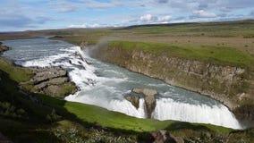 Gulfoss Waterfall Panorama Iceland royalty free stock image