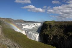 Gulfoss waterfall. On the river Hvita in Iceland Royalty Free Stock Image