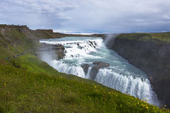 Gulfoss waterfall in summer sunny day in Iceland Royalty Free Stock Photos