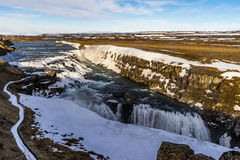 Gulfoss waterfall in winter. Gulfoss waterfall on the Golden Circle in western Iceland. Snow residue from winter still visible Stock Photography