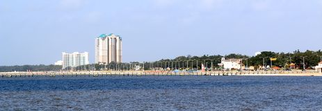 Gulfport Biloxi Mississippi Shoreline. As viewed from the Gulf of Mexico Royalty Free Stock Images