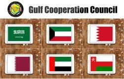 Gulfstaternas samarbetsrådflaggor Royaltyfria Bilder